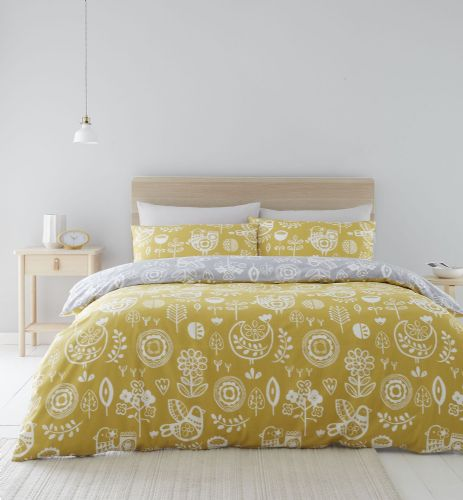 Catherine Lansfield Retro Birds Ochre Bedding Set